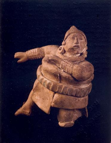 Ancient ceramic statuette of a ballplayer. Jaina Island, Campeche, Mexico, 700-900 A.D.